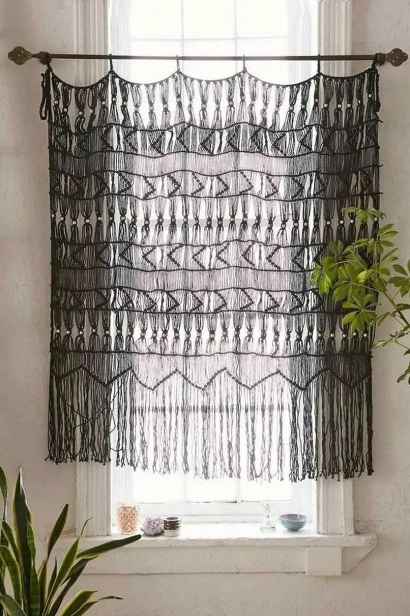 Black knit curtain