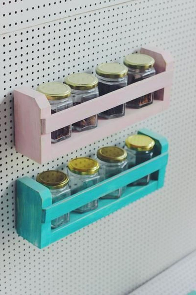 Blue and pink spice rack