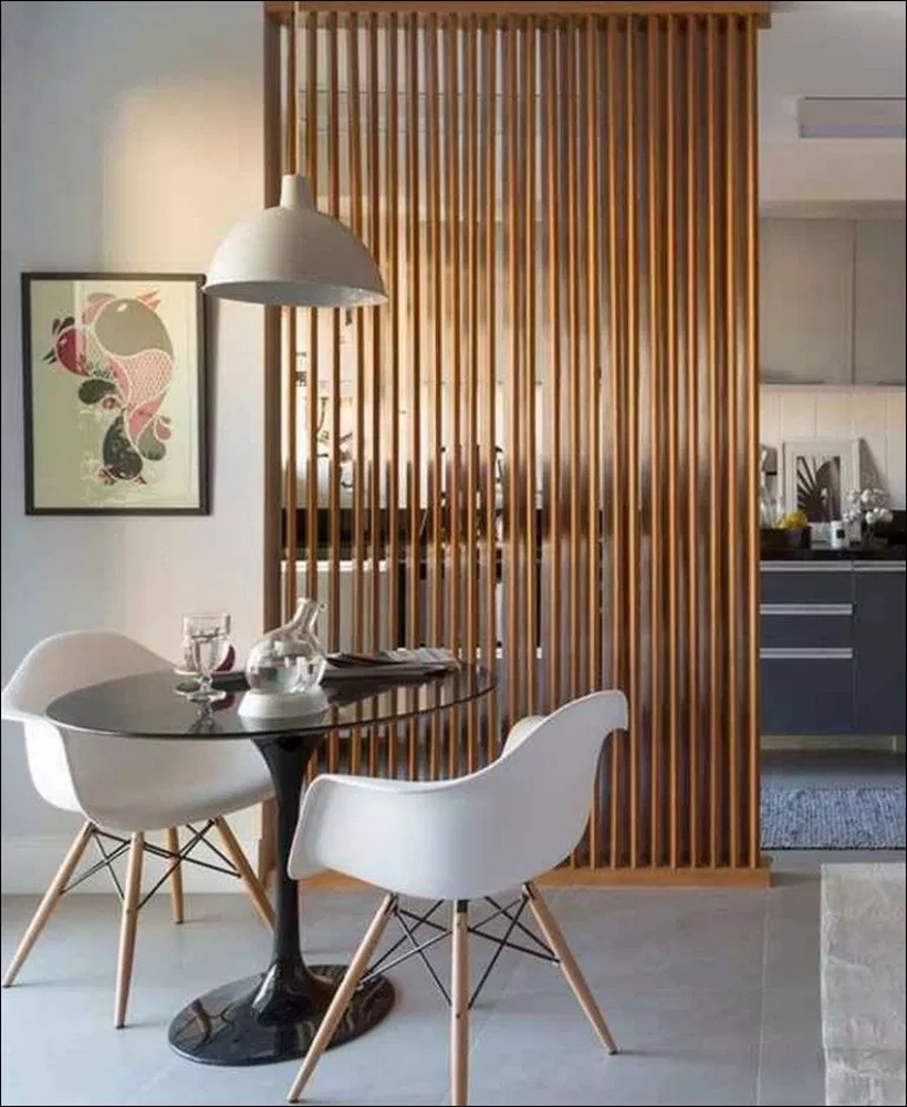 Brown wooden room divider