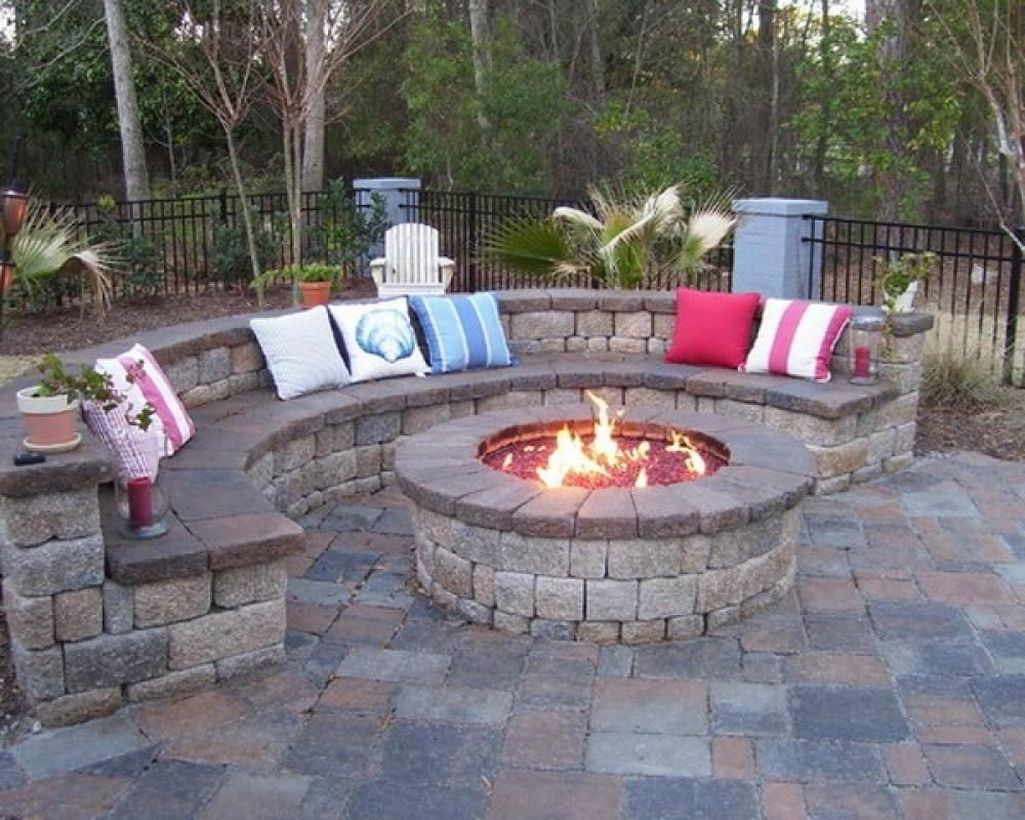 Circle pit fire pump with sofa cushions