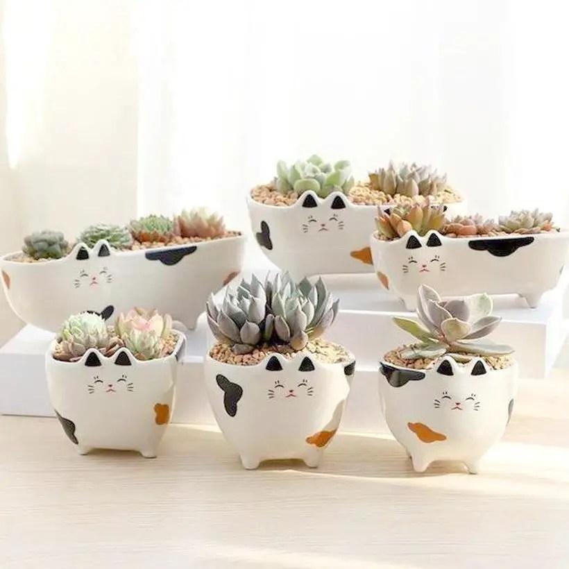 Cute cat ceramic flower pot terrarium for your home decoration