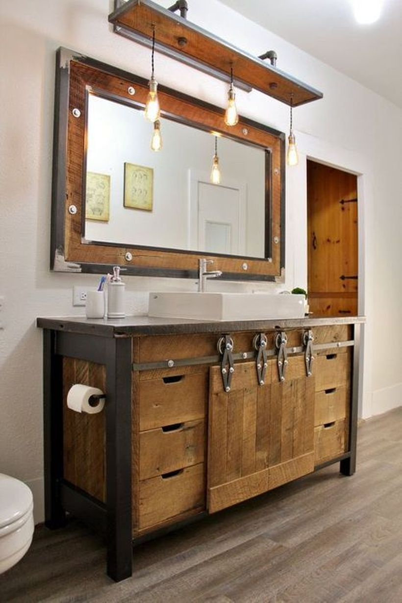 Farmhouse wooden table sink