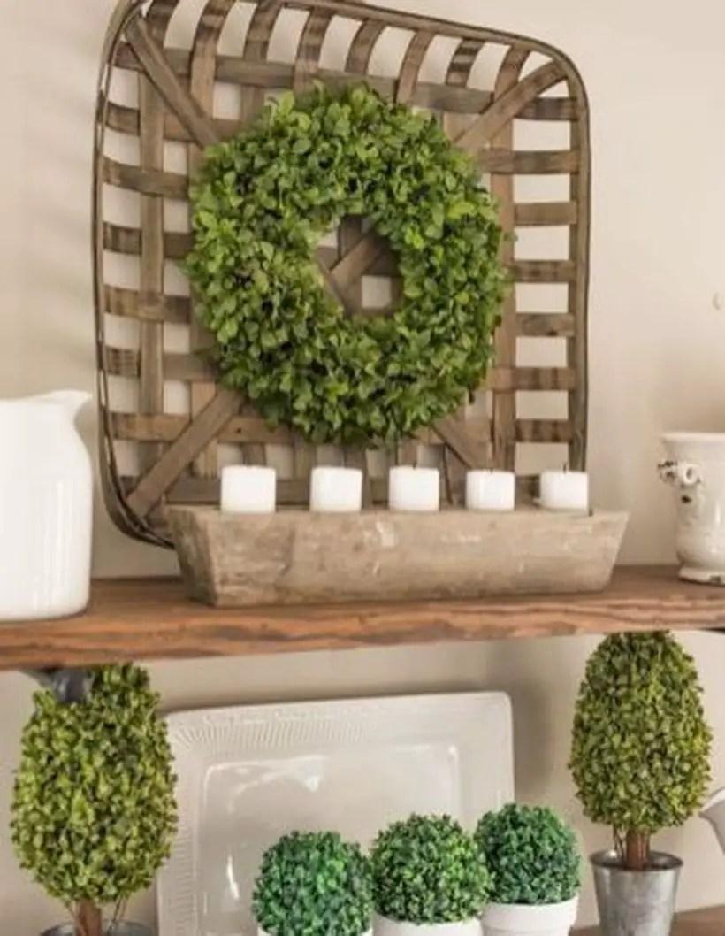 Greenery on wooden basket