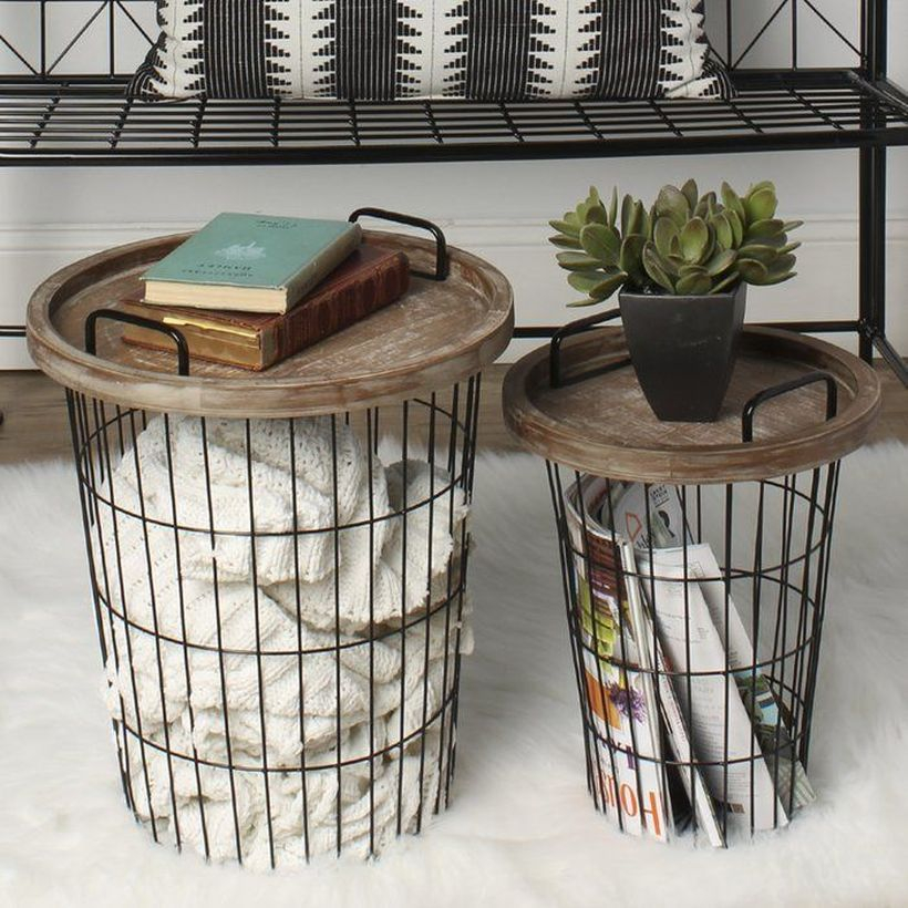 Iron basket with wooden cover