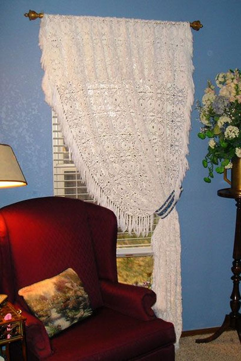 Long white curtain