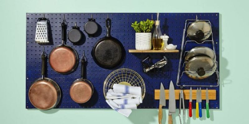 Modern diy pegboard with kitchen pegboard organization rack to hang kitchen equipment