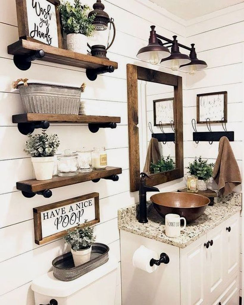 Modern farmhouse bathroom with hanging rack