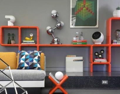 Orange geometric bookshelves design
