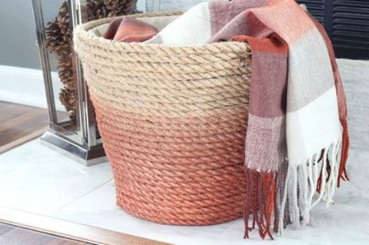Rattan basket and plaid scarf
