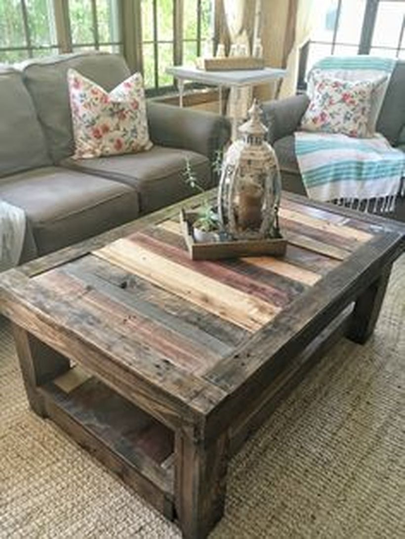 Rustic wooden coffee table