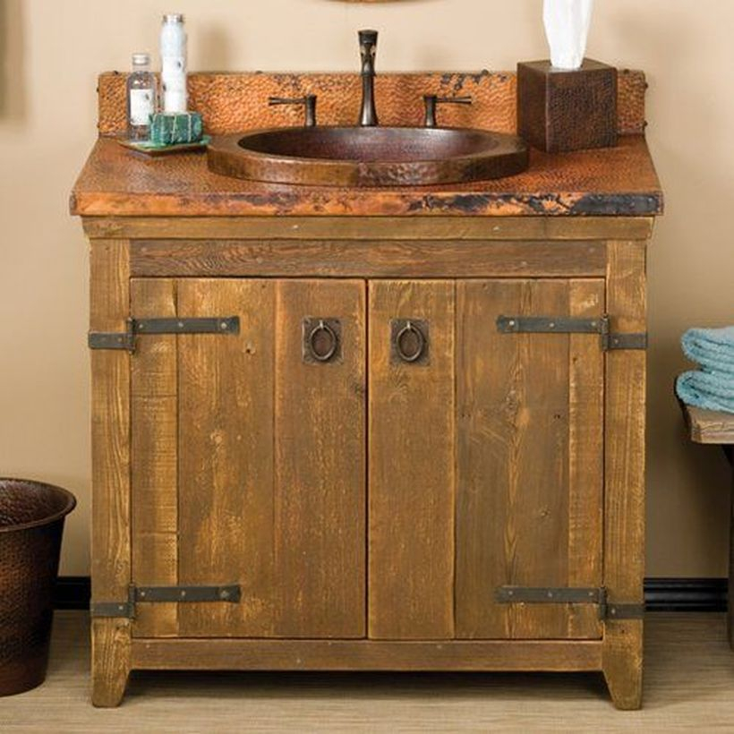 Rustic wooden table sink