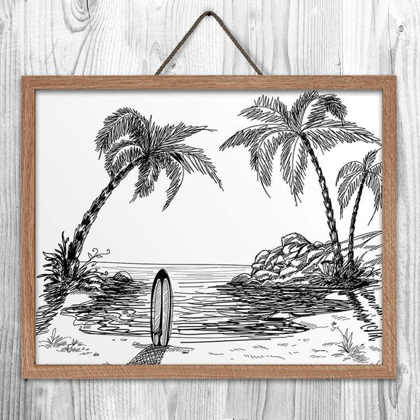 Simple cheap art work with paintings resembling a beach view for your space
