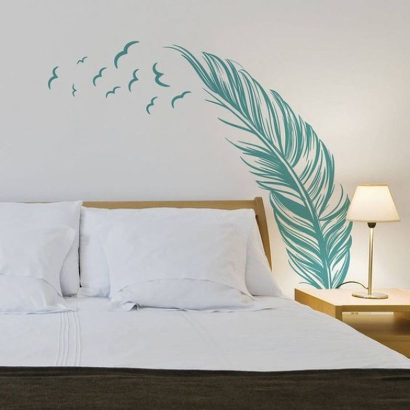 Simple wall painting with palm tree picture themes for your bedroom to create a cozy room