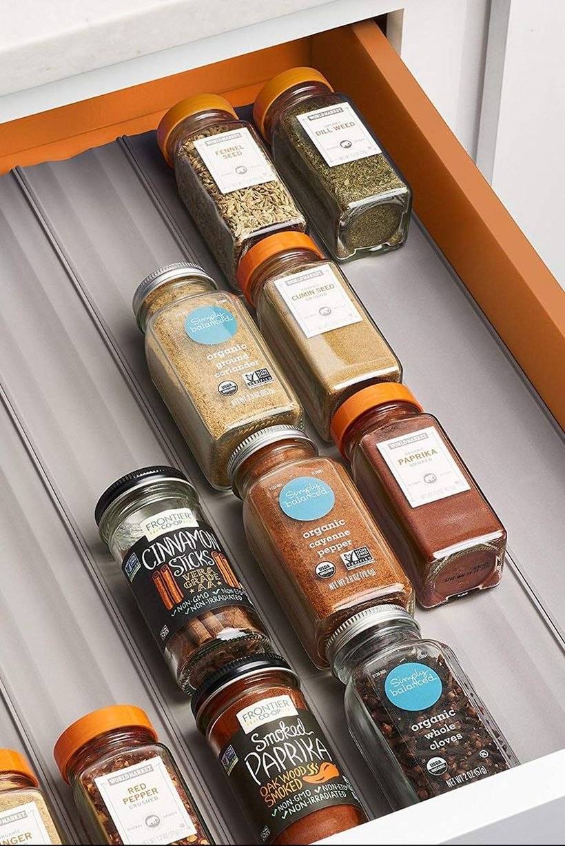 Smart storage spice rack drawer organizer in cabinet you must try