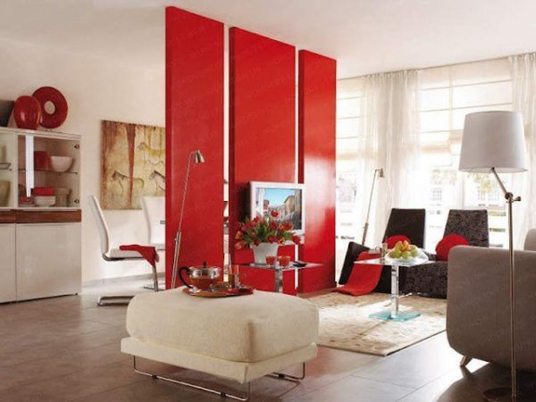 Square red room divider