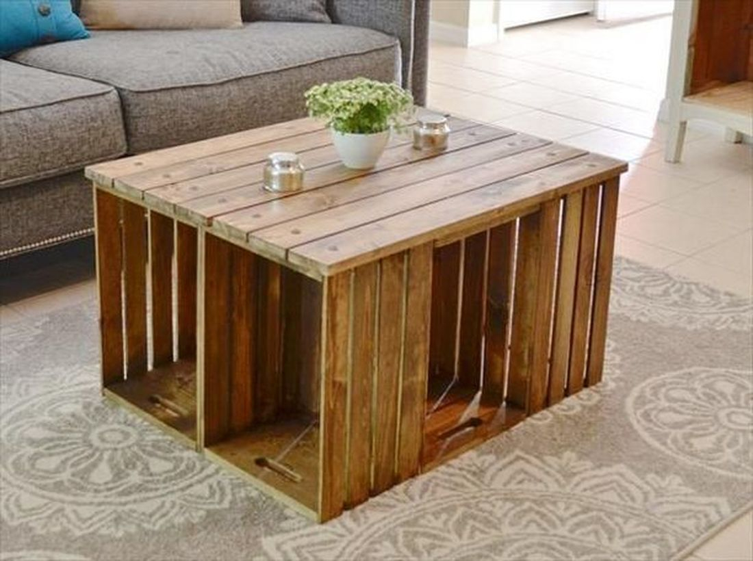 Square wooden pallet coffee table