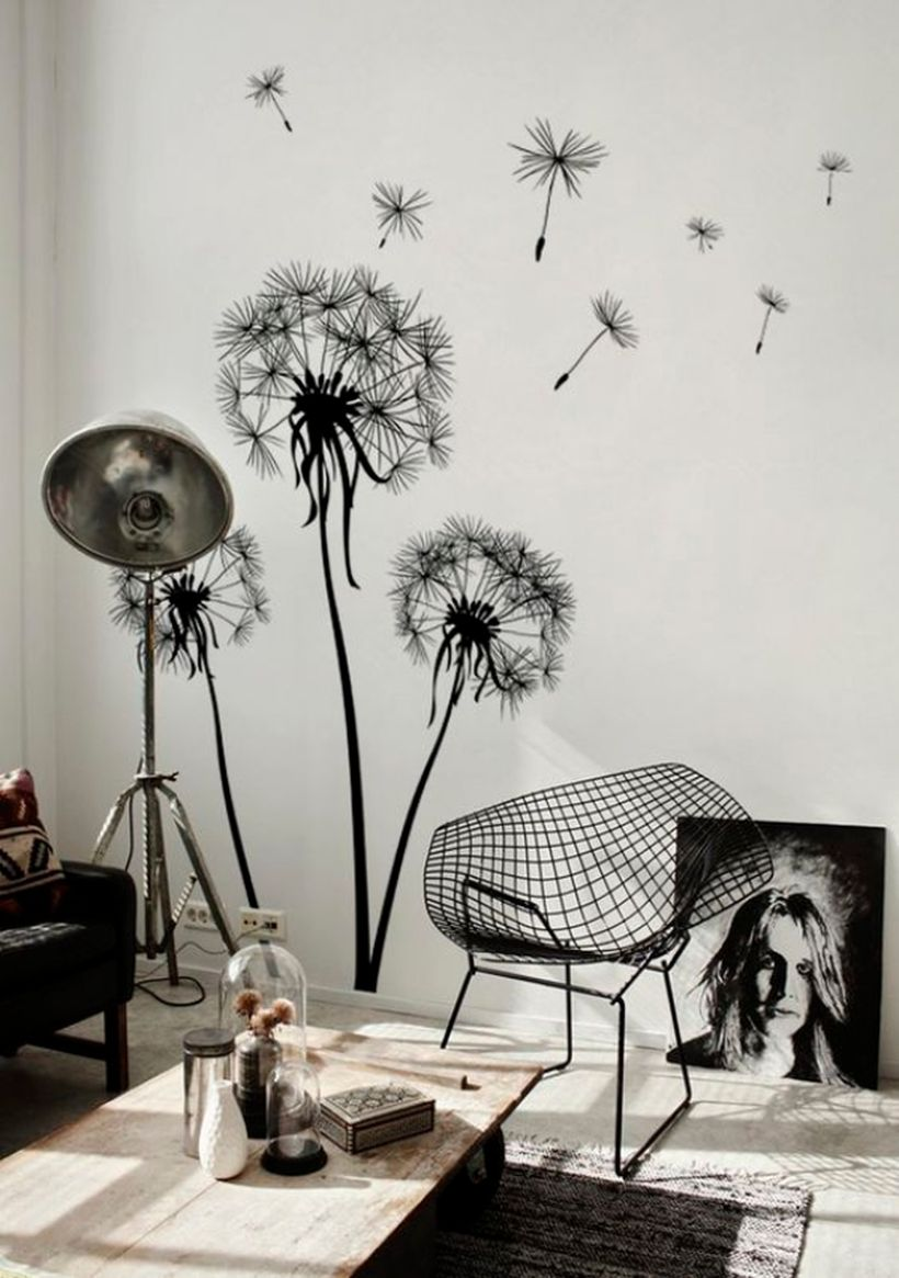 Unique wall painting flower theme for your living room to create a monochrome display