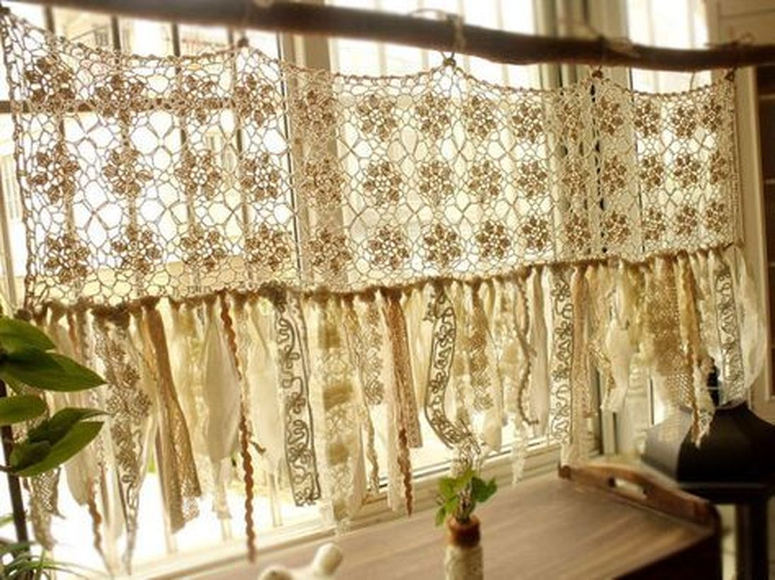 Unique white pattern curtain