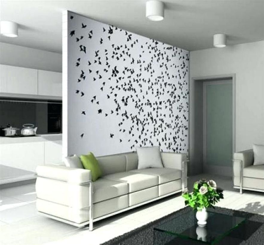 Unique wonderful wall painting ideas for living room with little bird themes