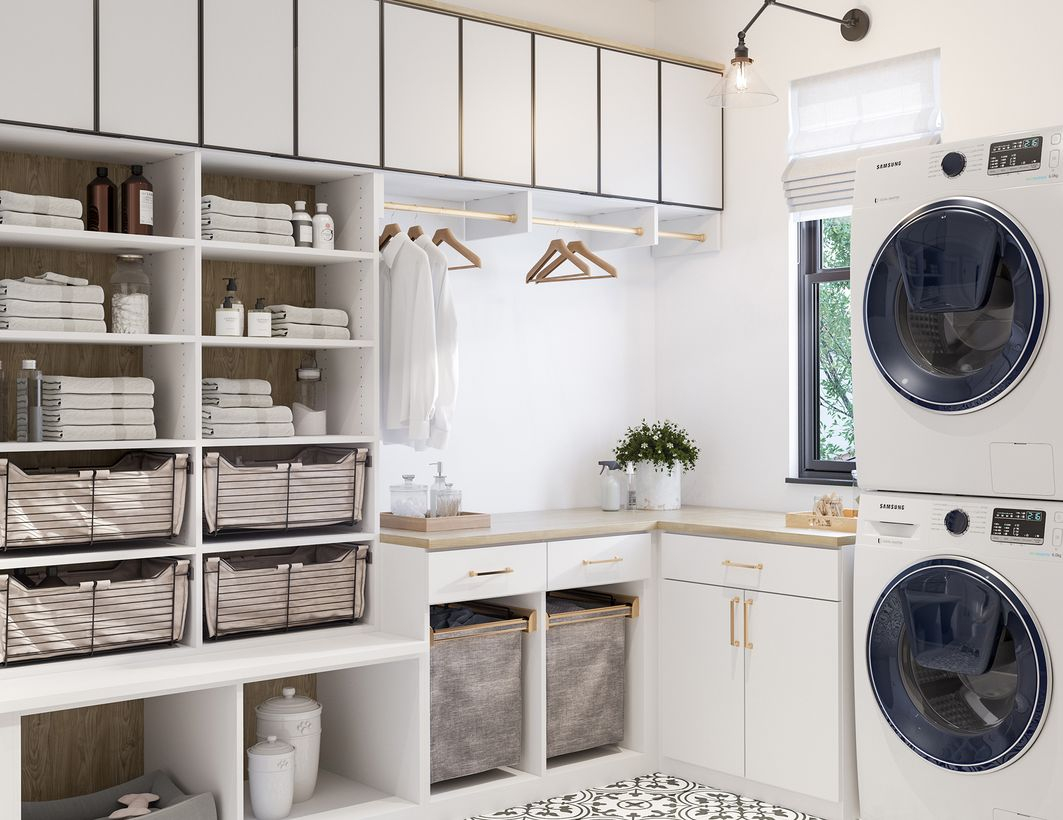 Washing machine with fabric storage and white cabinet storage