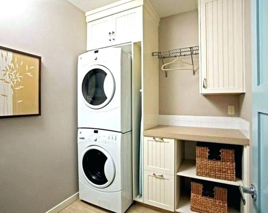 Washing machine with rattan storage and square white storage