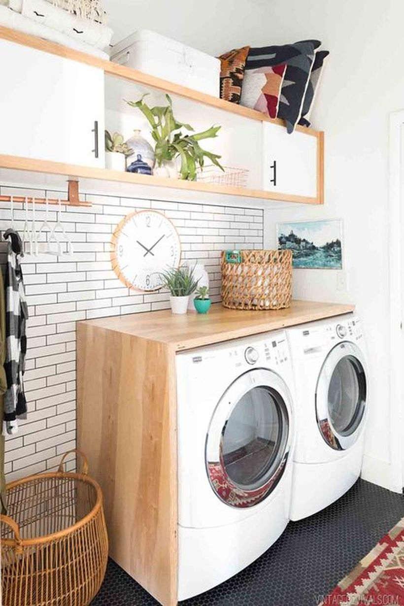 Washing machine with basket rattan storage