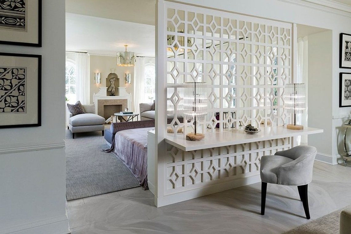 White hollow hole room divider