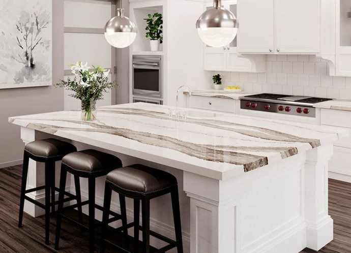 White pattern marble countertop design with black chairs