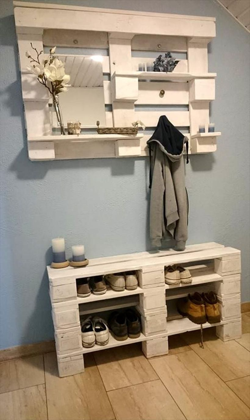 White wooden pallet to store house plant and rack shoes