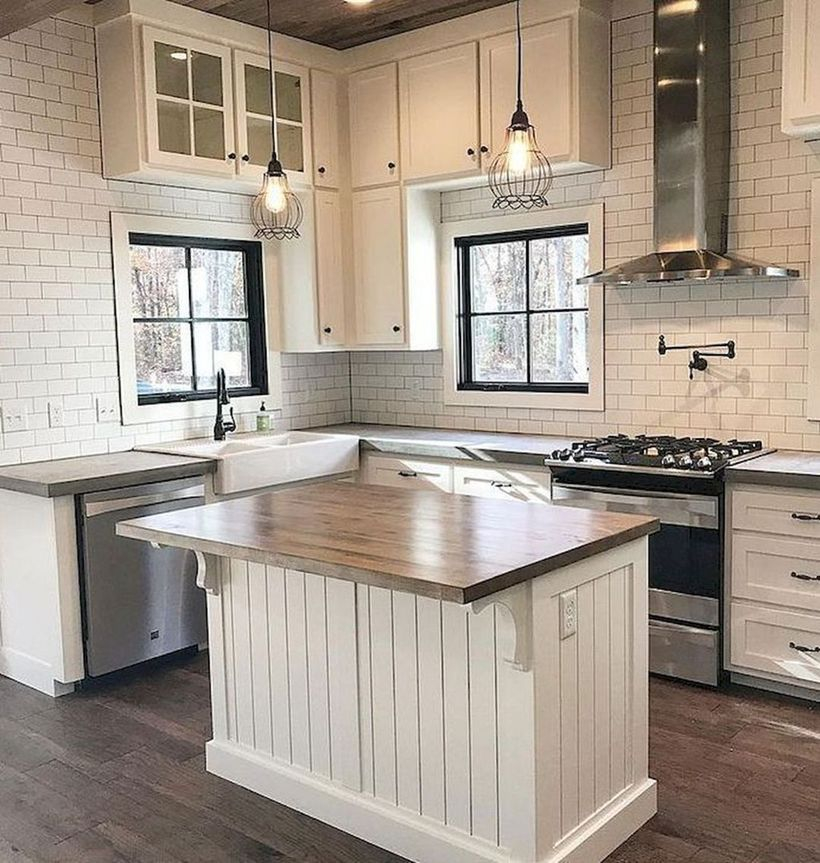 Wooden countertop design on white wooden cabinet