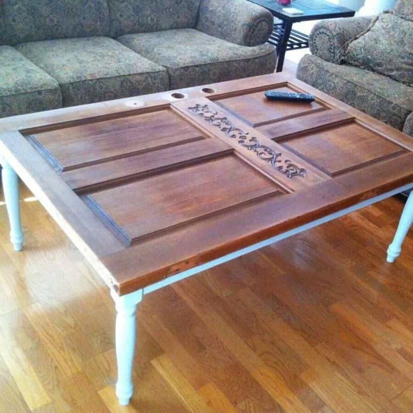 Wooden door shaped coffee table