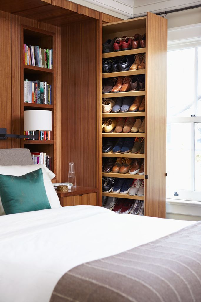 An awesome shoes storage idea for a bedroom with wooden closet storage side bed to complete your storage decoration