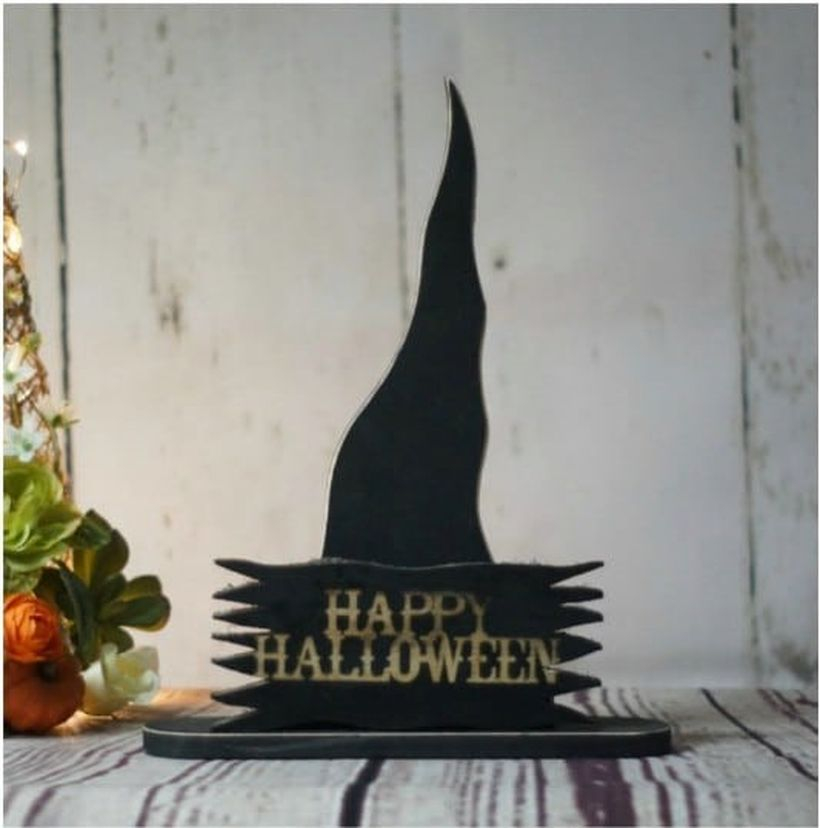 Black wooden pallet sentence board shaped black witch hat for indoor decoration
