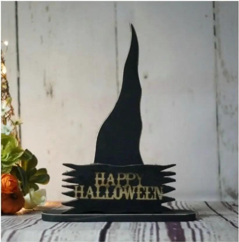Black wooden pallet sentence board shaped black witch hat for indoor decoration
