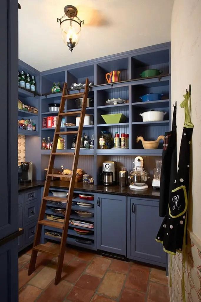 Blue kitchen pantry