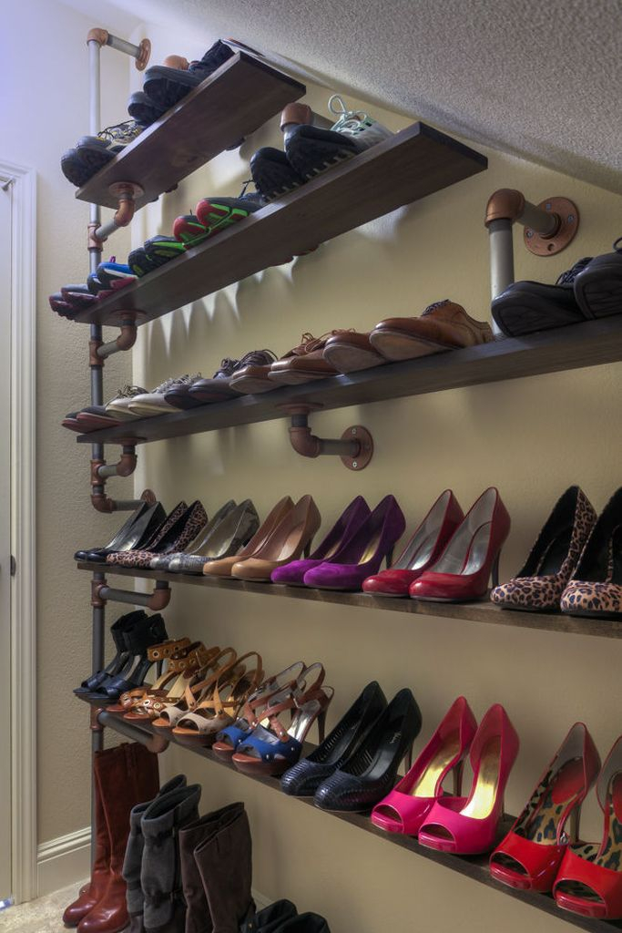 Captivating diy shoes storage idea for a small bedroom with iron pipe shoe storage to organize your shoes storage to be more neat