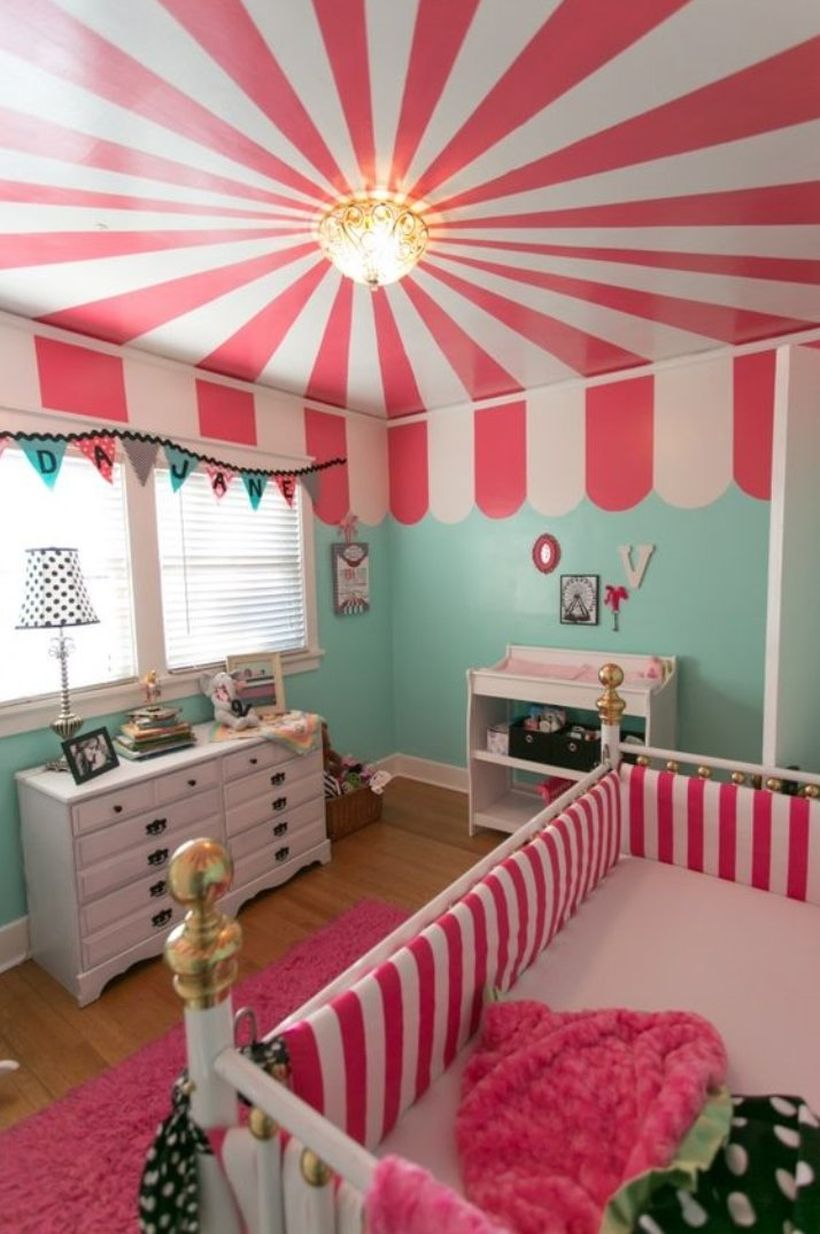 Cute-baby-girls-nursery-room-with-stripped-concepts-white-and-pink-by-applying-it-to-your-babys-bed-and-the-ceiling-you-must-try