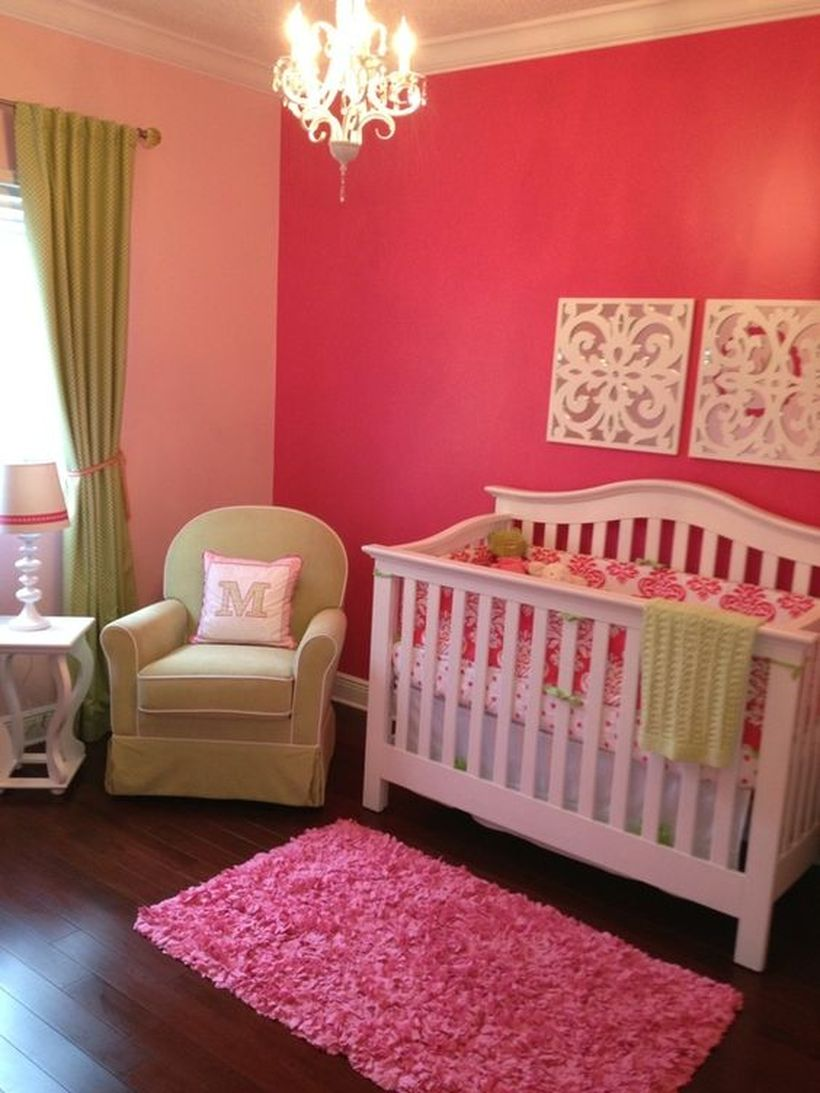 Cute-pink-baby-girls-nursery-room-with-baby-cot-sheets-are-also-pink-and-pink-color-used-to-paint-your-walls