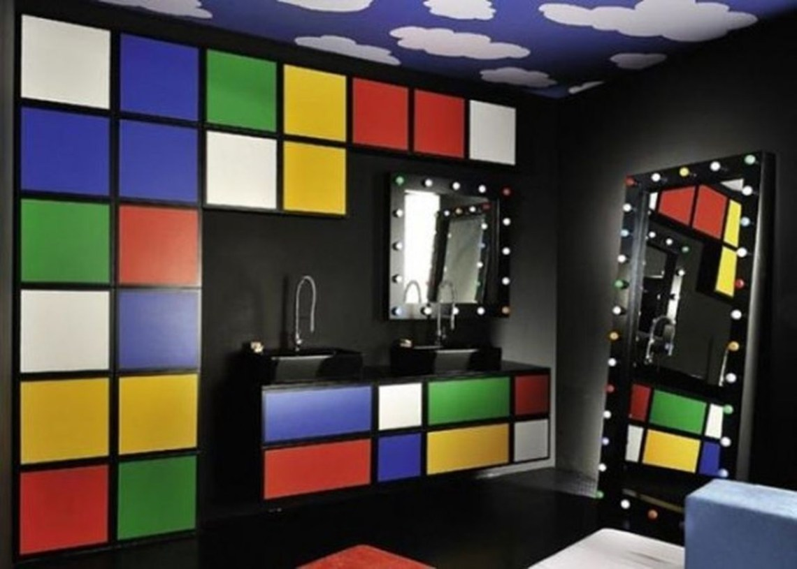Faboush bedroom with pattern walls cubic and big mirror for best decor