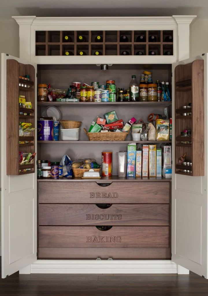 Food pantry cabinet with wooden materials