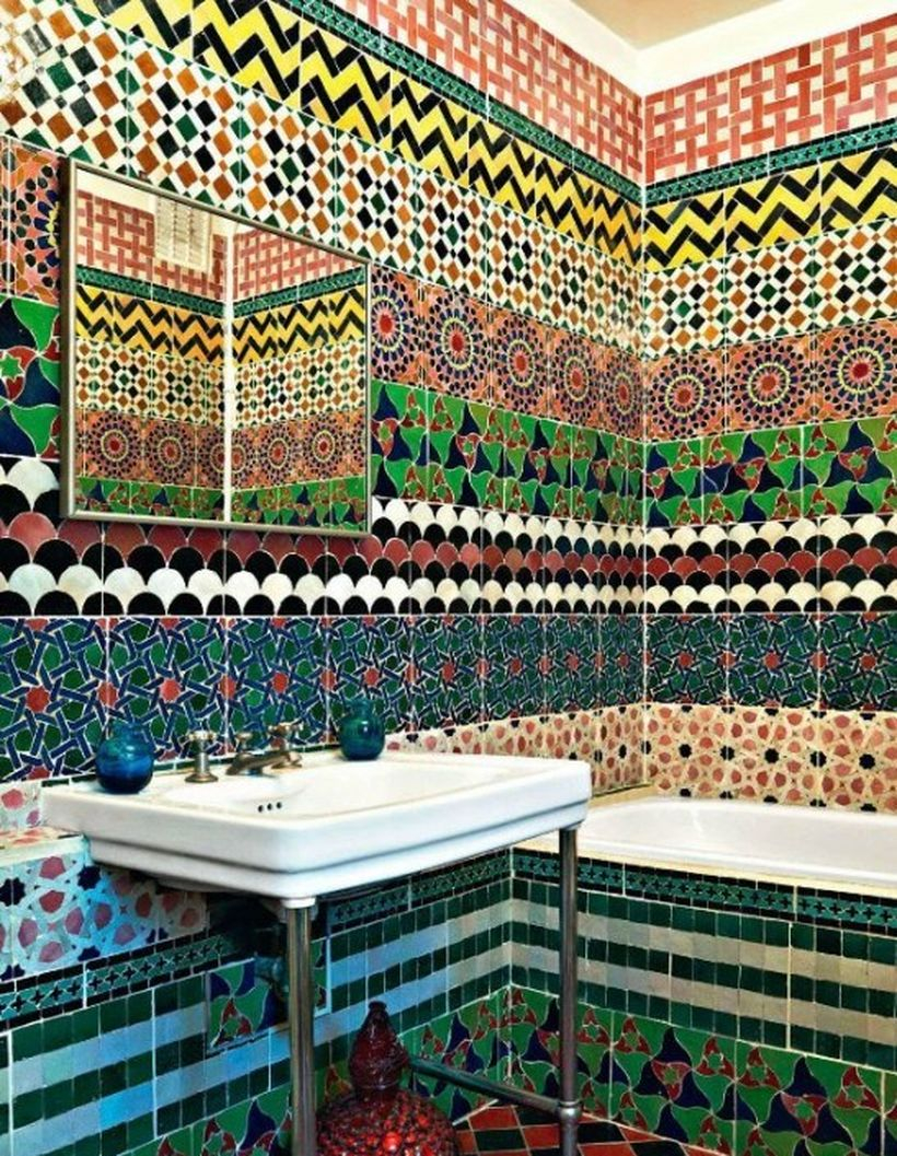 Great bathroom with artistic pattern wall and white sink for unique decoration