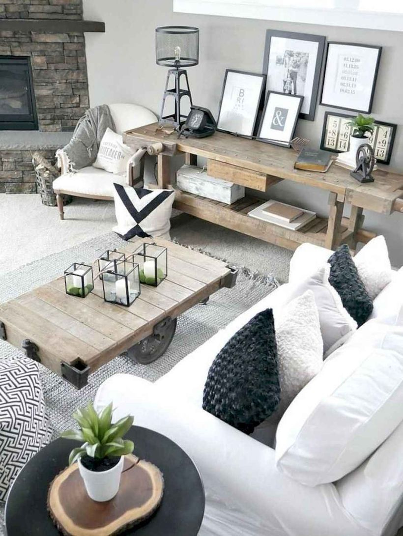 Great living room with white sofa, square wooden table, and wooden table storage to look simple