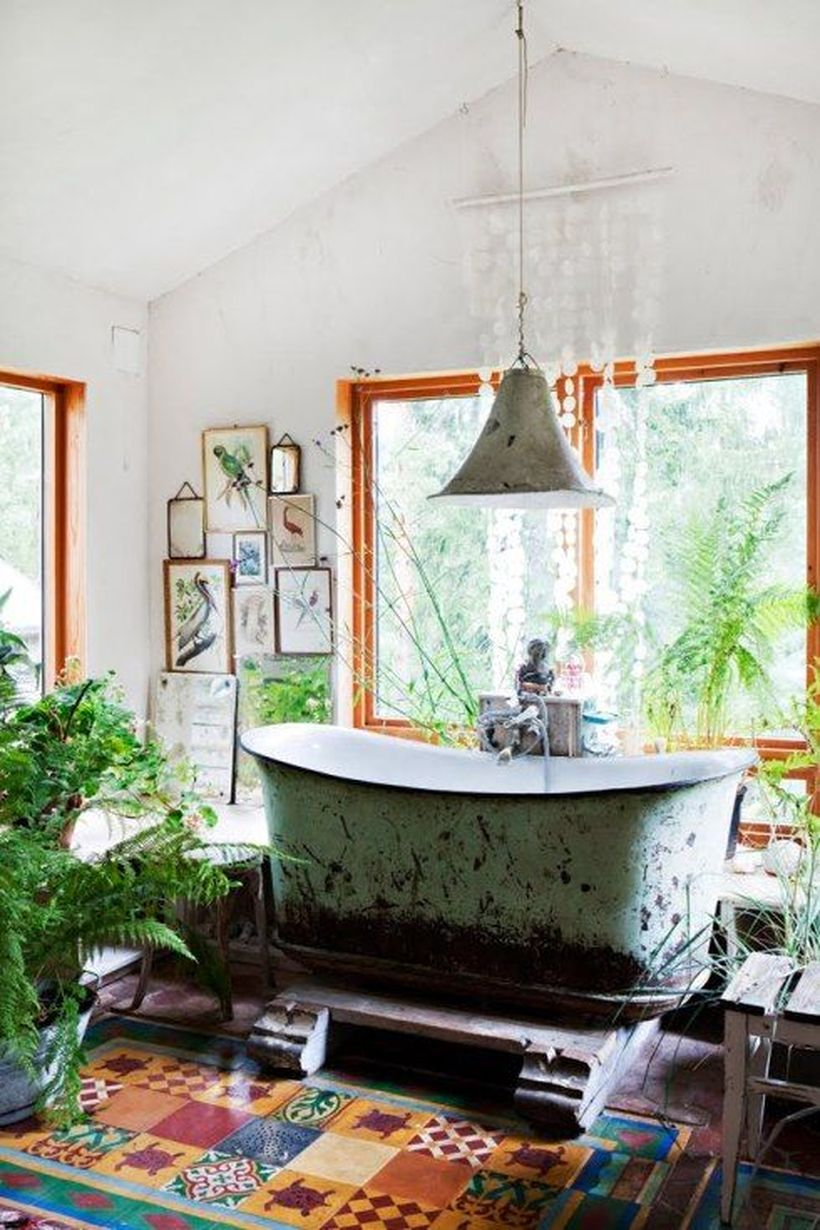 Impresive bathroom with classic motive tile combine turtle painting for beautiful decoration