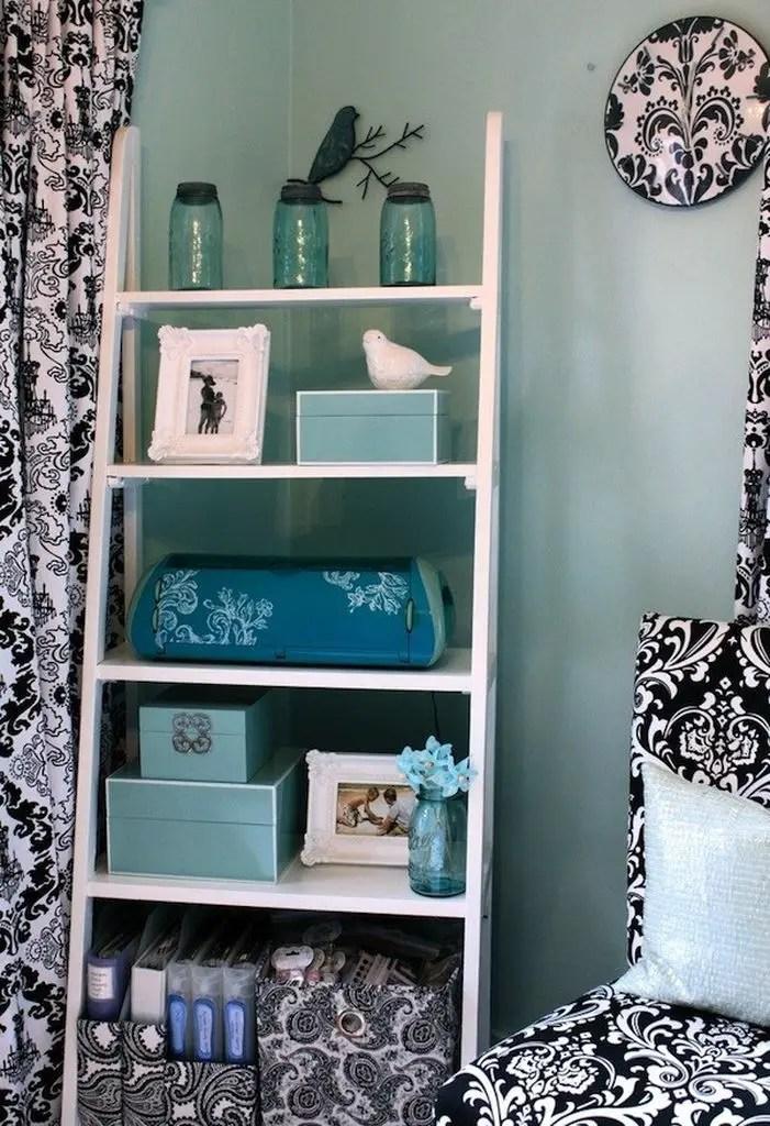 Ladder shelf decor in white