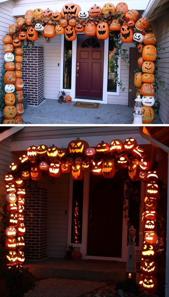 Perfect front yard decorating for halloween with tower of terrifying pumpkins to complete your spooky outdoor decoration