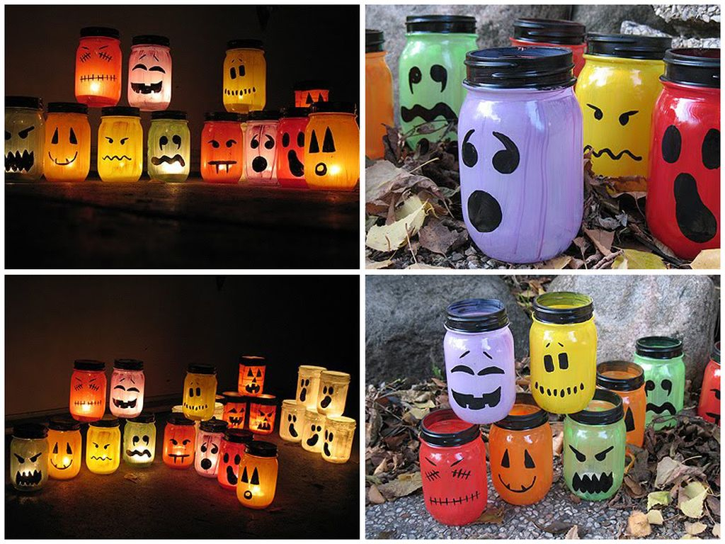 Perfect outdoor decorations with canning jars, some paint, and a candle to complete your halloween decoration