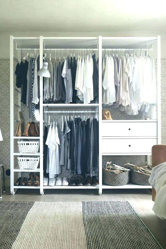 Perfect storage for small bedroom with some storage in white to arrange your clothes to be more presentable