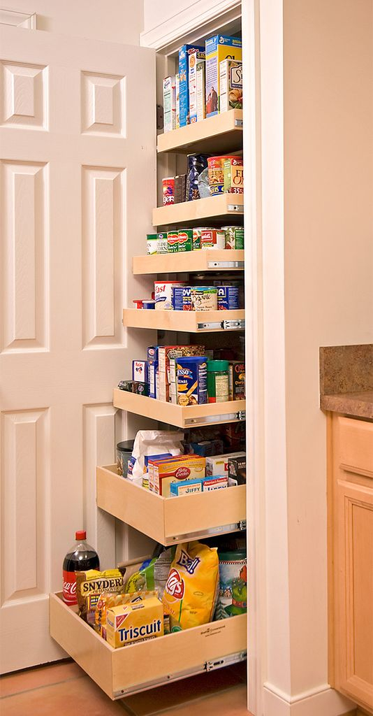 Roll-out pantry for small kitchen