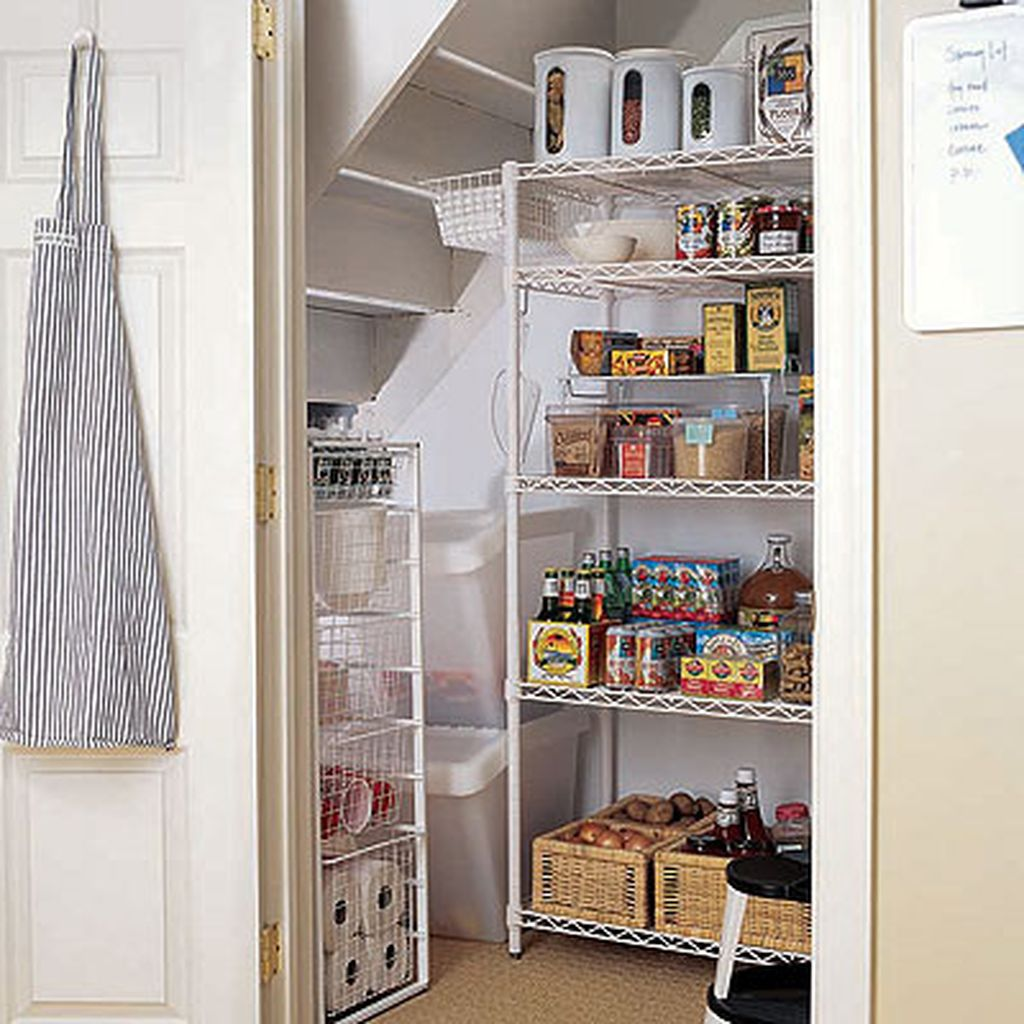 Simple kitchen pantry with iron rack