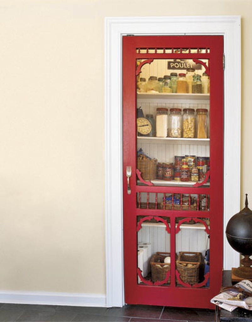 Small pantry with red door
